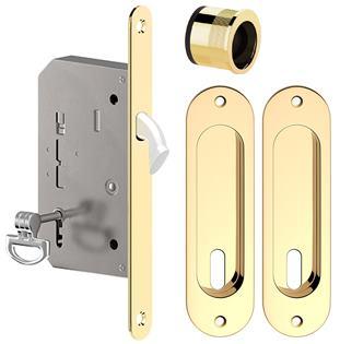 Zámok na posuvné dvere premium oválny mosadz